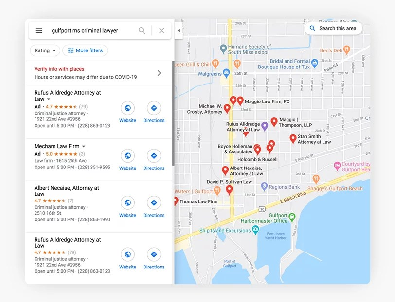 GMB Data showing up in ads on Google Maps