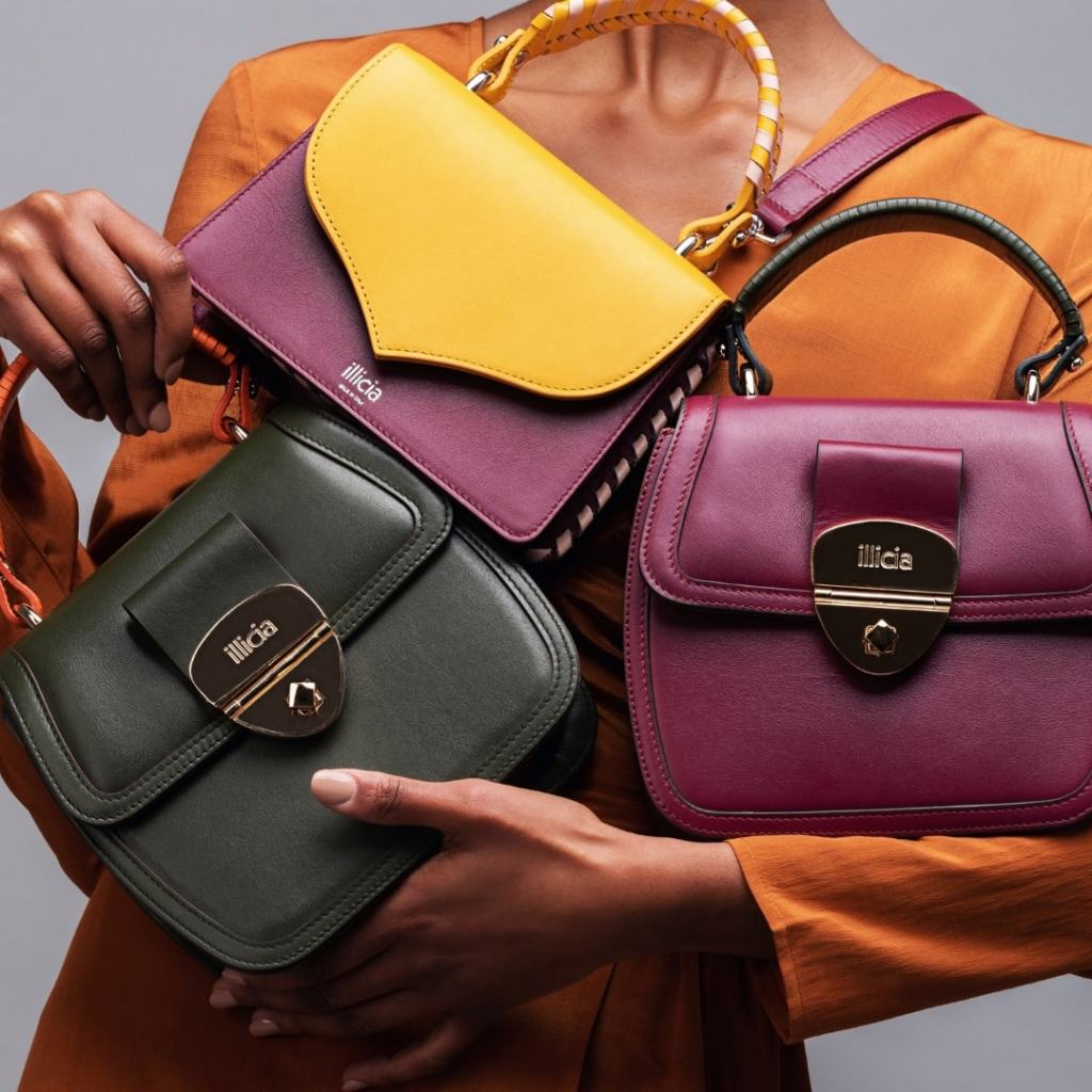 Illicia Luxury leather handbags, Fashion business consultant, Onwards and Up London