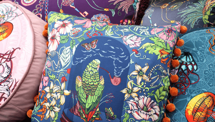Silk illustrated cushions Dalliance and Noble | Onwards and Up