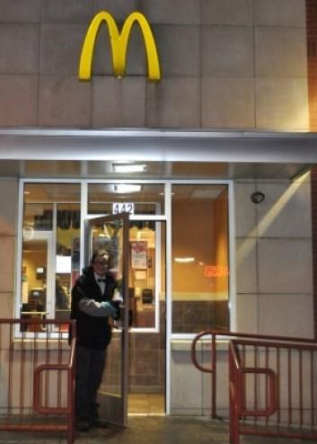 david opening mcdonald's door