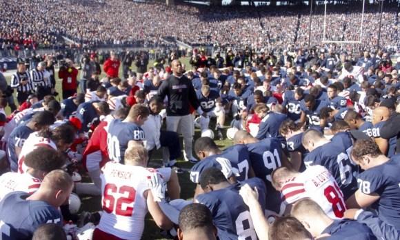 Prayer Huddle before Nebraska loss