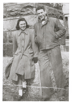 Berg with his fiancee Mildred Levy, whom he met working a summer job in high school.