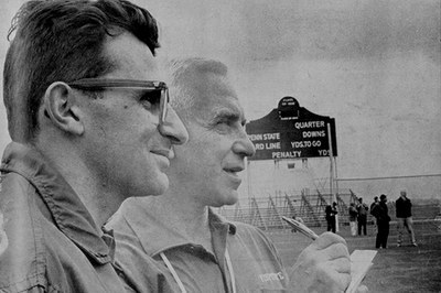 Rip Engle (right) standing next to Joe Paterno at Beaver Stadium