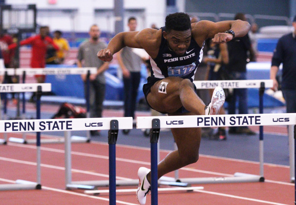 Penn State's Sancho Barrett runs to a second place finish in the Men's 60 Meter Hurdles final during the Penn State Indoor Relays on Jan. 10, 2015. (Photo: Craig Houtz)