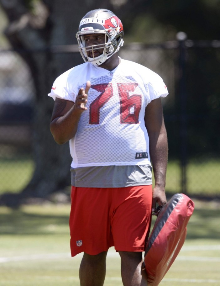 Donovan Smith goes through drills at the Tampa Bay Buccaneers rookie mini-camp. (TBO.com)