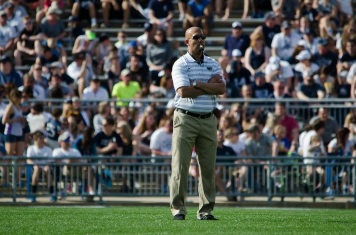 James Franklin looks on during the 2015 Blue White scrimmage.