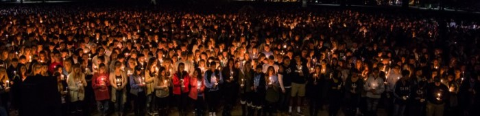 Students gathered by the hundreds to share their respects, condolences.