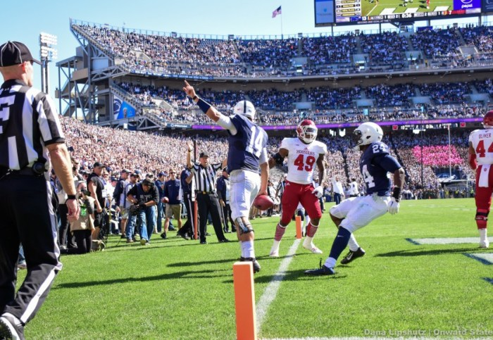 Hackenberg celebrates after his first rushing touchdown of the season.