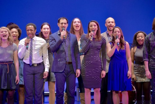"""From left to right: Higgins, Lucrezio, Bowman, and Veldheer sing """"Our Time,"""" with the rest of the company."""