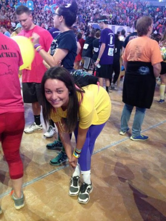 Betsy Wermus stretches during THON 2016