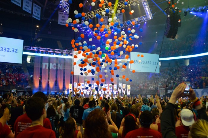 At the culmination of THON, the total was revealed and the balloons were dropped.