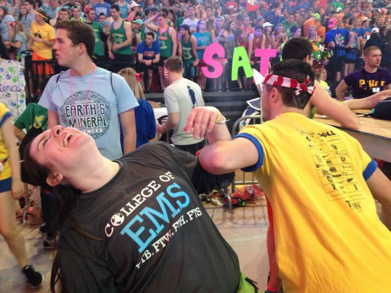Shelby miller and Ryan Deberardinis stretch during THON 2016