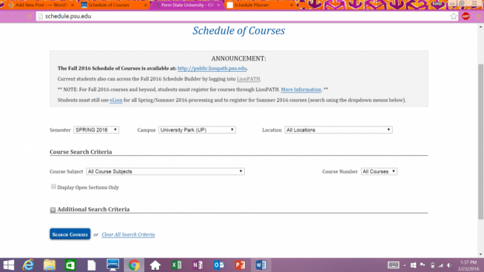 The Schedule of Courses available on eLion.