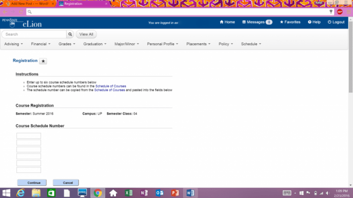 Registering for classes using eLion.