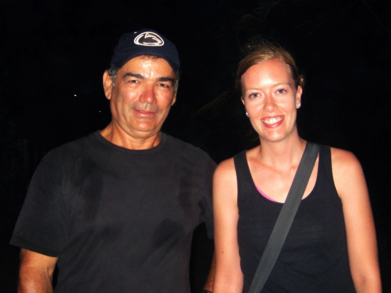 Anneke Stewart with her tour guide in Costa Rica