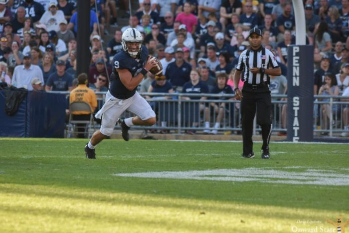 Trace McSorely, in his first official start at quarterback, scrambles out of the pocket, something we would see him do frequently for the rest of the game.