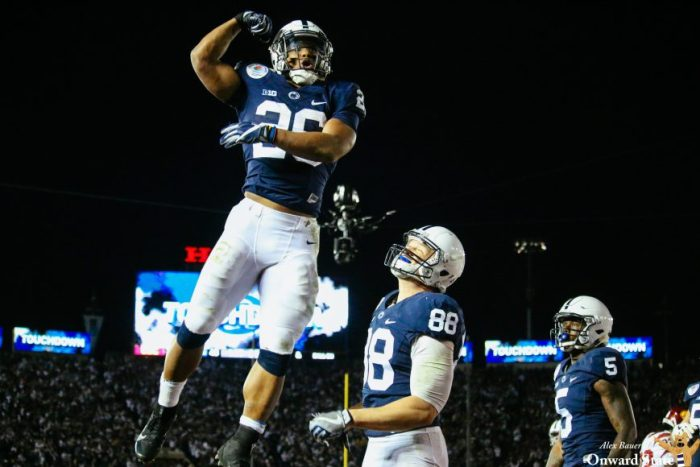 Saquon Barkley and Mike Gesicki Mike Gesicki and Chris Godwin Penn State Football vs USC University of Southern California Rose Bow Game 2017