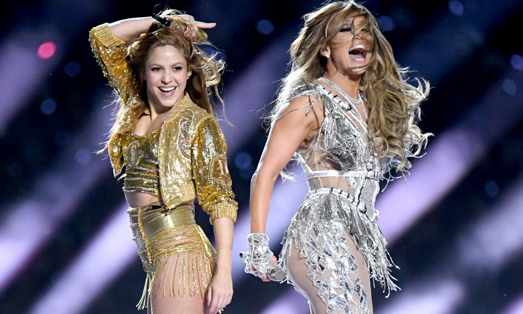 shakira and jlo superbowl half-time show 2020 shakira jlo superbowl halftime let's get loud first generation Latinas American Latin women heritage