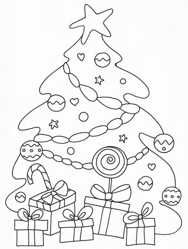 Alberi-di-Natale-da-colorare-con pacchi regalo