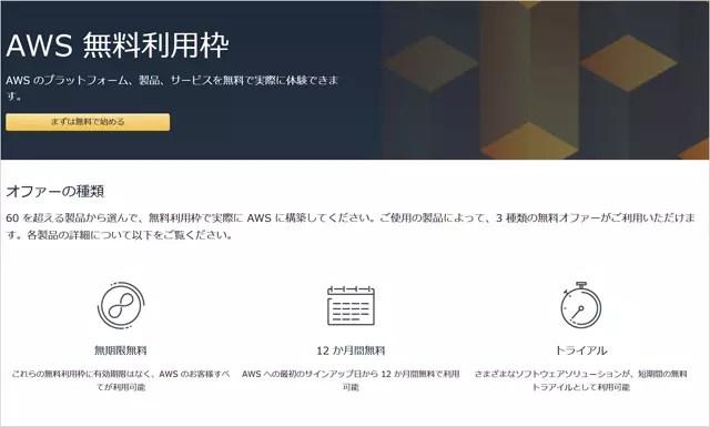 amazonクラウドサーバー1年間無料枠