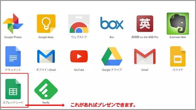 Google Appsにも無料で使えるスプレッドシートがある。