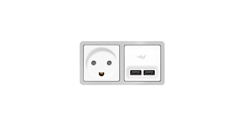 Dobbelt USB-udtag til indbygning i væggen