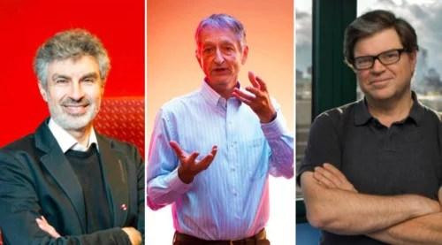 """Các ông: Yoshua Bengio, Geoffrey Hinton và Yann LeCun (từ trái qua phải) là ba nhà khoa học đoạt Giải """"Nobel công nghệ"""" về A.I"""