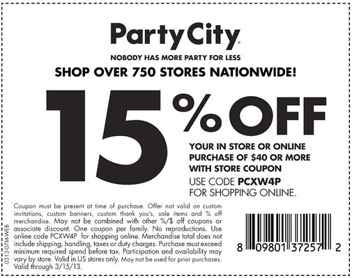 Party City: 15% off $40 Printable Coupon