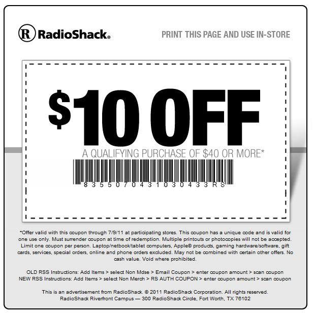 Radio Shack: $10 off $40 Printable Coupon
