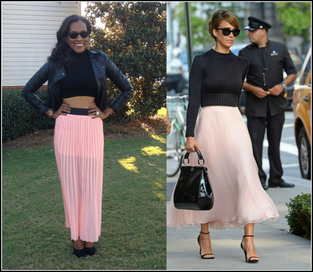 style-remix-Style-Files-with-PrettyPrice-Jesse and J-Pink-Pleated-Skirt-Forever- 21-Crop-Turtleneck- Leather-Moto-Jacket-Black-Pumps-Jessica Alba pink Ralph Lauren NYFW S14