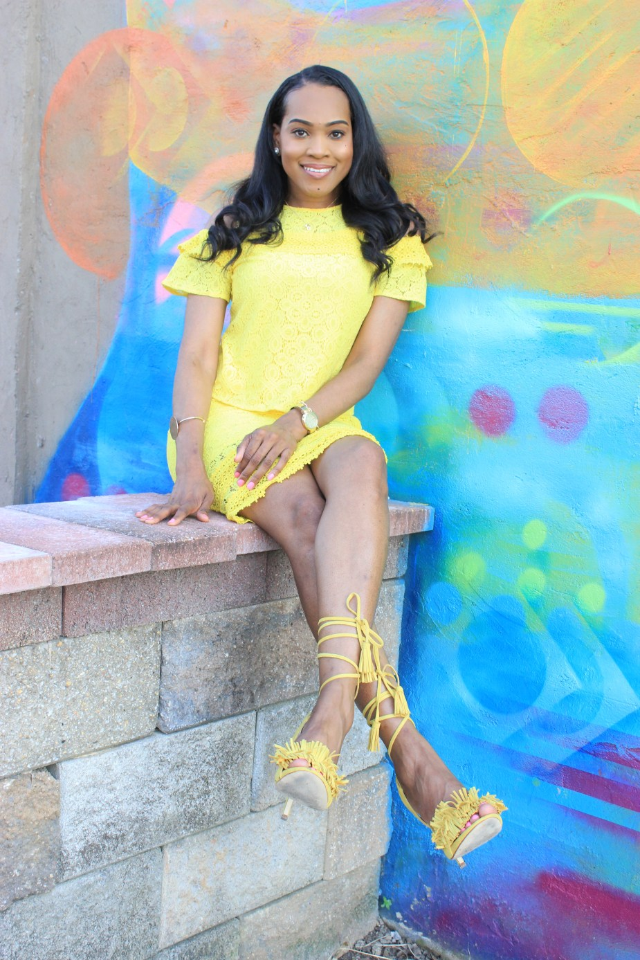 Style-files-JCPenney-Project- Runway Cold -Shoulder-Lace -Top-yellow-lace-pencil-skirt-yellow-fringe-justfab-sandals-Birmingham blogger-top-Birmingham-blogger-oohlalablog-