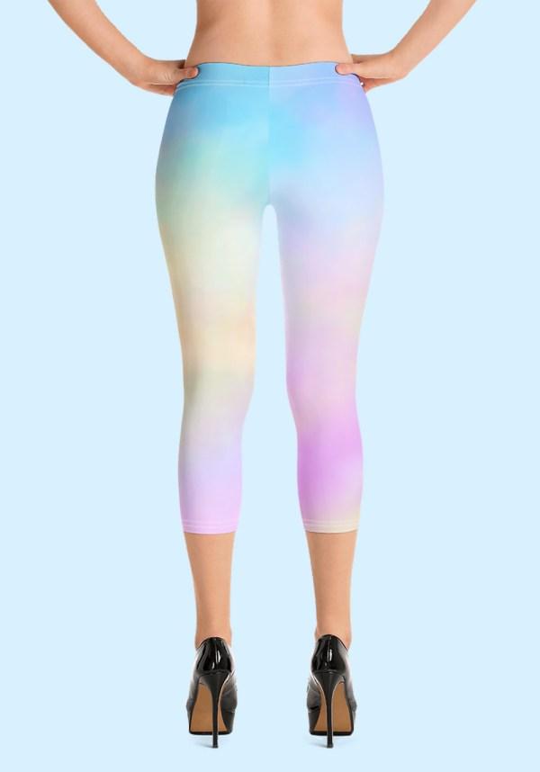 Woman wearing unique Cotton Candy Zouk Leggings designed by Ooh La La Zouk. Capri, back high heels view.