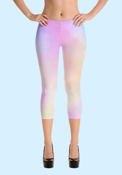 Woman wearing unique Cotton Candy Zouk Leggings designed by Ooh La La Zouk. Capri, front high heels view.