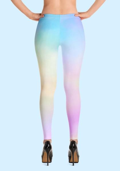 Woman wearing unique Cotton Candy Zouk Leggings designed by Ooh La La Zouk. Back high heels view.