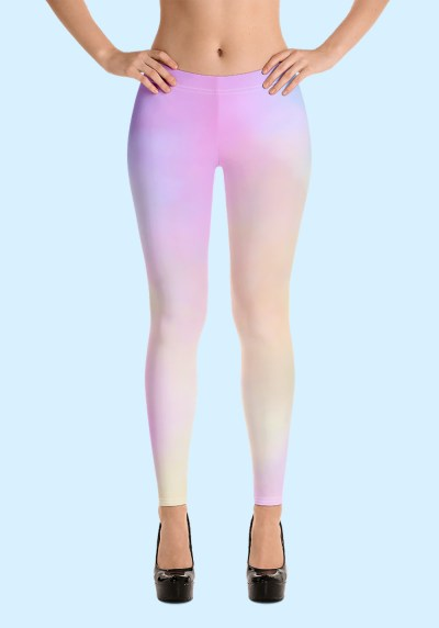 Woman wearing unique Cotton Candy Zouk Leggings designed by Ooh La La Zouk. Front high heels view.