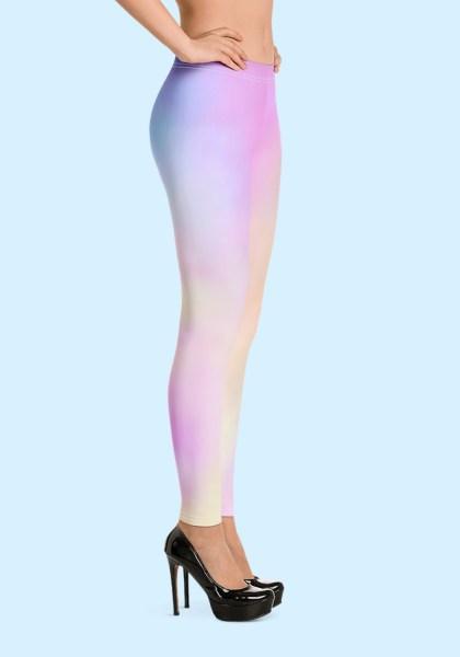 Woman wearing unique Cotton Candy Zouk Leggings designed by Ooh La La Zouk. Right side, high heels view.