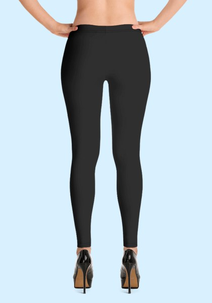 """Woman wearing Zouk Leggings decorated with a unique """"Love Dance Zouk"""" design. Back view (3) in high-heels. By Ooh La La Zouk."""