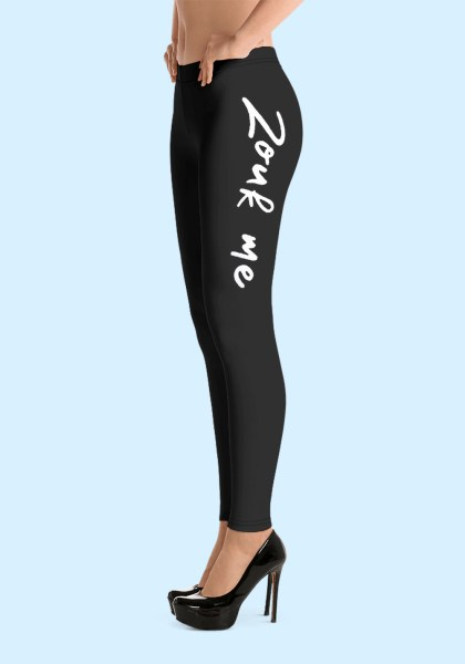 "Woman wearing Zouk Leggings decorated with a unique ""Zouk me"" design. Left side view (3) high heels. By Ooh La La Zouk."