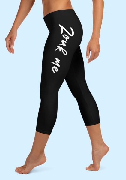 """Woman wearing Capri Zouk Leggings decorated with a unique """"Zouk me"""" design. Left side view (2) barefoot. By Ooh La La Zouk."""