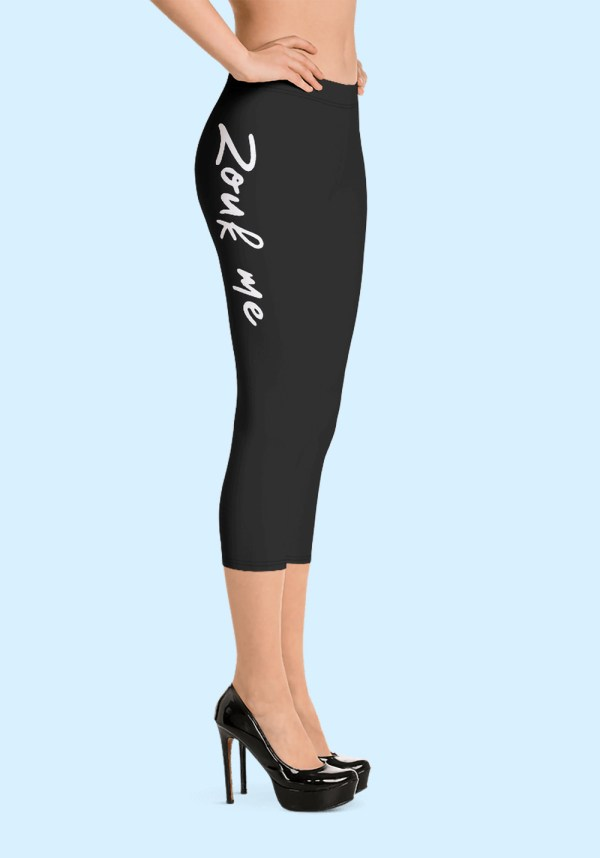 "Woman wearing Capri Zouk Leggings decorated with a unique ""Zouk me"" design. Right side view (3) high heels. By Ooh La La Zouk."