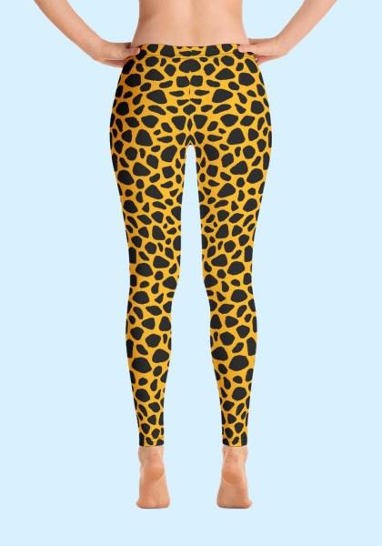Woman wearing unique Leopard Zouk Leggings designed by Ooh La La Zouk. Back barefoot view (1).
