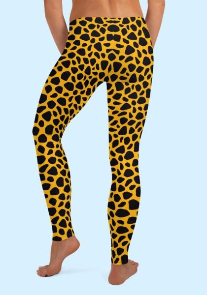 Woman wearing unique Leopard Zouk Leggings designed by Ooh La La Zouk. Back barefoot view (2).