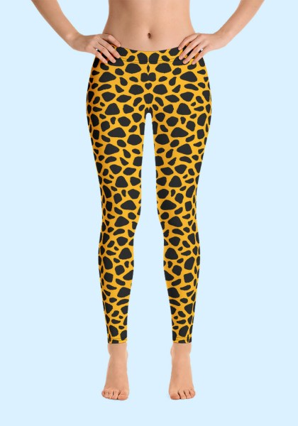 Woman wearing unique Leopard Zouk Leggings designed by Ooh La La Zouk. Front barefoot view (1).