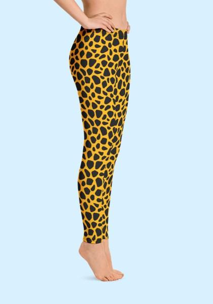 Woman wearing unique Leopard Zouk Leggings designed by Ooh La La Zouk. Right side barefoot view (1).