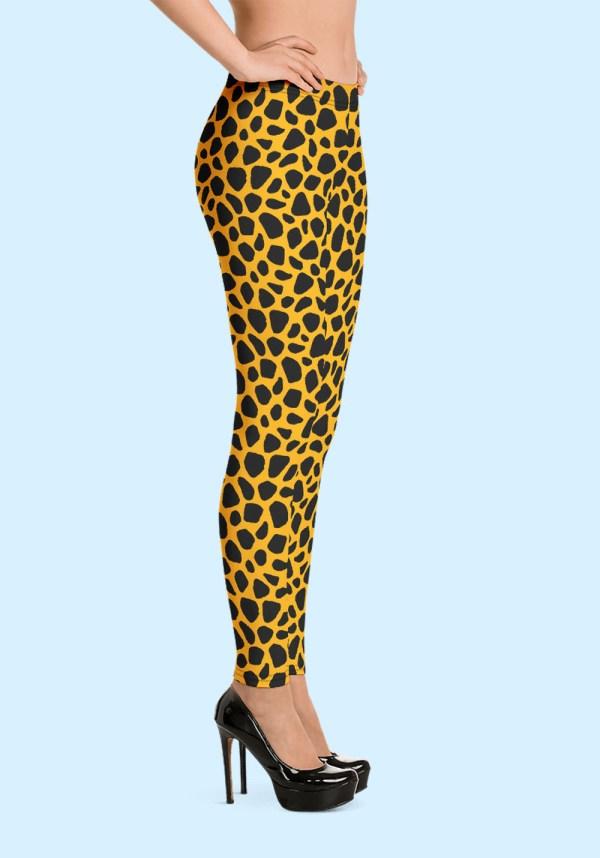Woman wearing unique Leopard Zouk Leggings designed by Ooh La La Zouk. Right side high heels view.