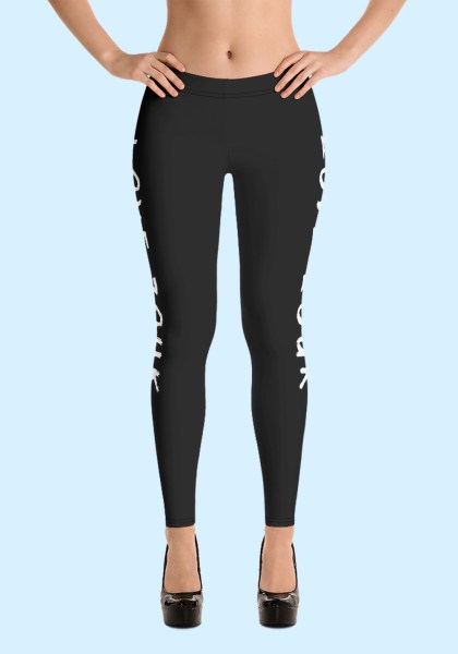 """Woman wearing Zouk Leggings decorated with unique """"Love Zouk"""" design. Front view in high heels. By Ooh La La Zouk."""