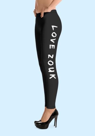 "Woman wearing Zouk Leggings decorated with unique ""Love Zouk"" design. Left side view in high heels. By Ooh La La Zouk."