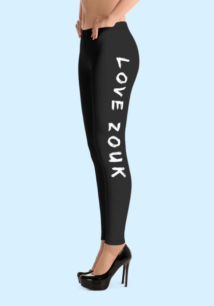 """Woman wearing Zouk Leggings decorated with unique """"Love Zouk"""" design. Left side view in high heels. By Ooh La La Zouk."""