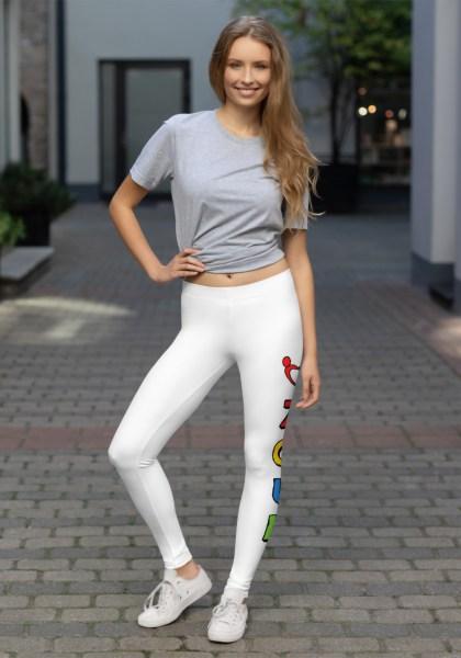 """Woman wearing unique """"me plus Zouk"""" Leggings designed by Ooh La La Zouk. Front lifestyle view."""