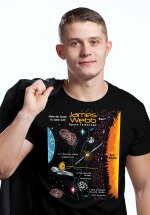 """Closeup of a man wearing NASA shirt decorated with unique """"James Webb Telescope"""" design in black crew neck style"""